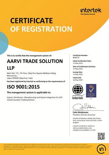 ISO 9001:2015 Certificate From Intertek